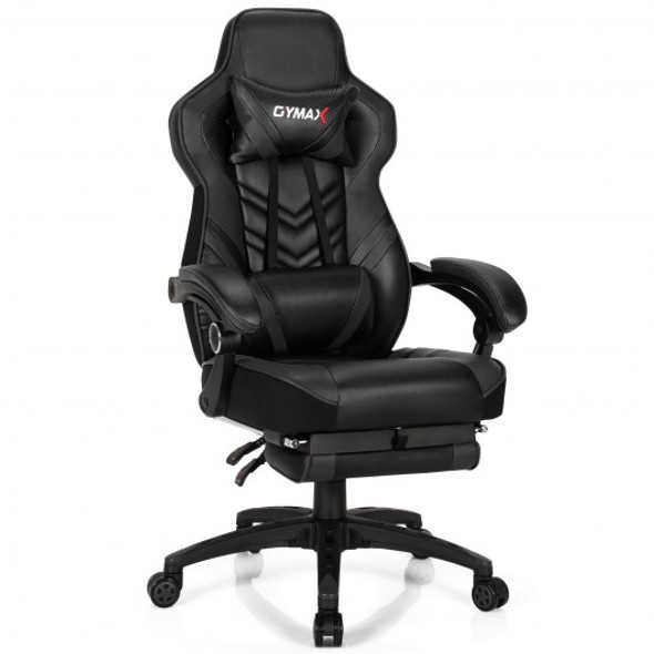 Adjustable Gaming Chair with Footrest for Home Office-Black