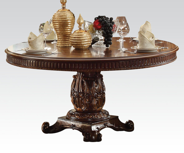 Round Wooden top Dining table with Single Carved Pedestal