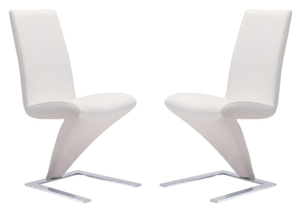 Modern White Set of 2 Faux Leather Dining Chairs