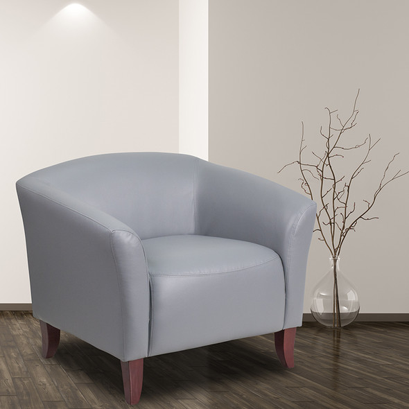 Gray Leather Chair - FL111-1-GY-GG