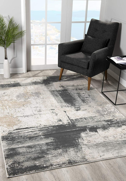 2 x 5 Cream and Gray Abstract Patches Area Rug