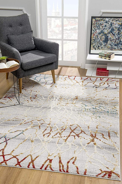 5 x 8 Gold and Ivory Abstract Branches Area Rug