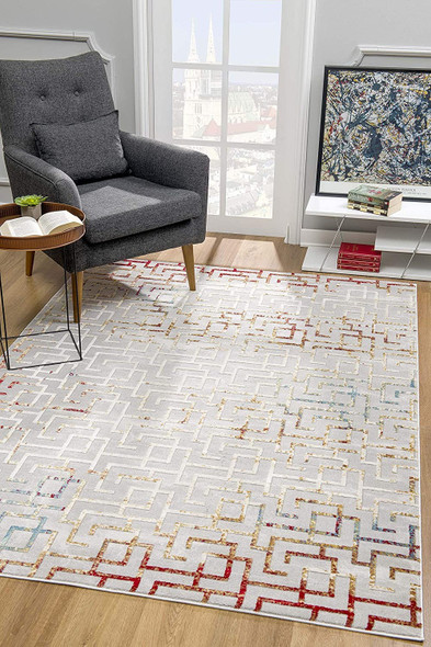4 x 6 Gray and Red Greek Key Patterns Area Rug