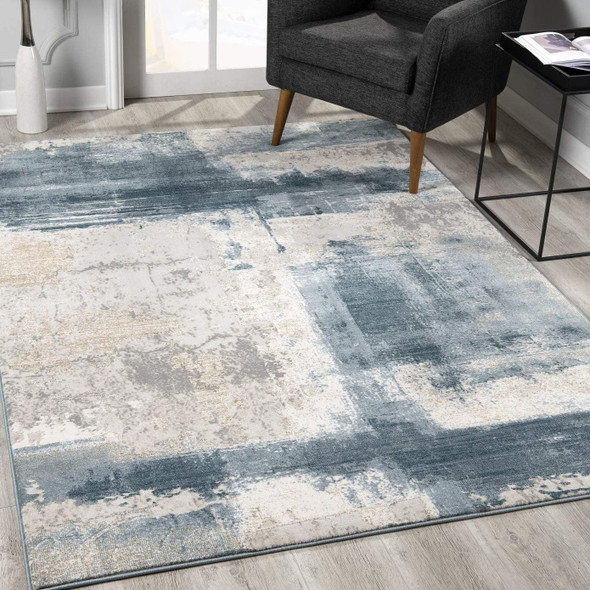 2 x 5 Cream and Blue Abstract Patches Area Rug