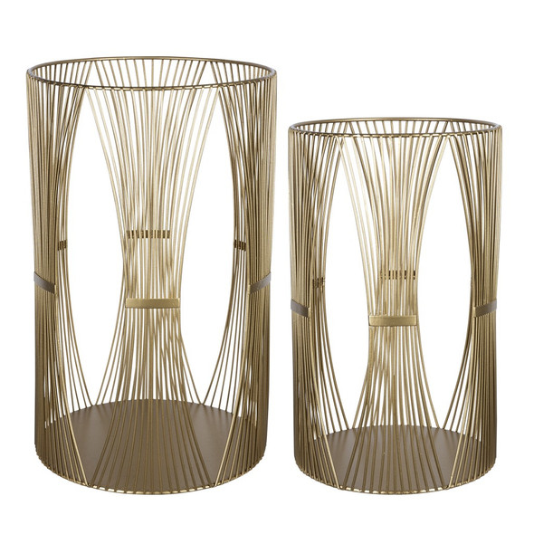 Set of Two Gold Metal Candle Holders