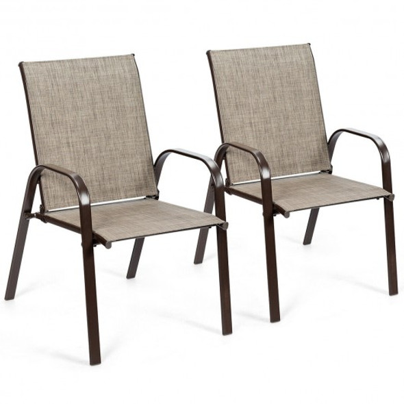 2 Pcs Patio Chairs Outdoor Dining Chair with Armrest-Gray