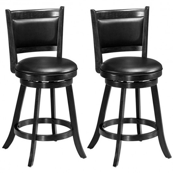 2 Pieces 24 Inches Swivel Counter Stool Dining Chair Upholstered Seat-Black