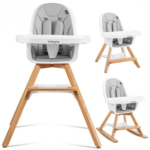 3-in-1 Convertible Wooden Baby High Chair-Beige