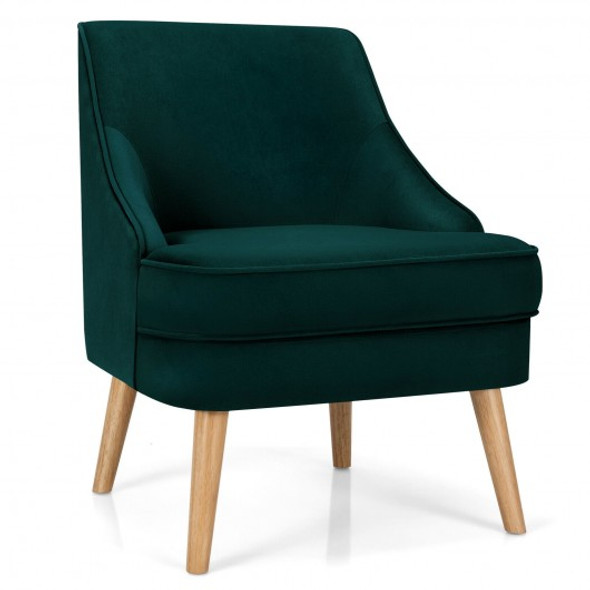 Velvet Upholstered Accent Chair with Rubber Wood Legs-Green
