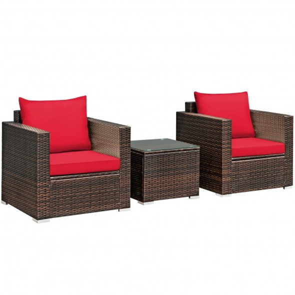 3 Pcs Patio Conversation Rattan Furniture Set with Cushion-Red
