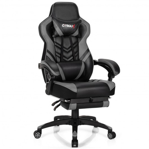 Adjustable Gaming Chair with Footrest for Home Office-Gray