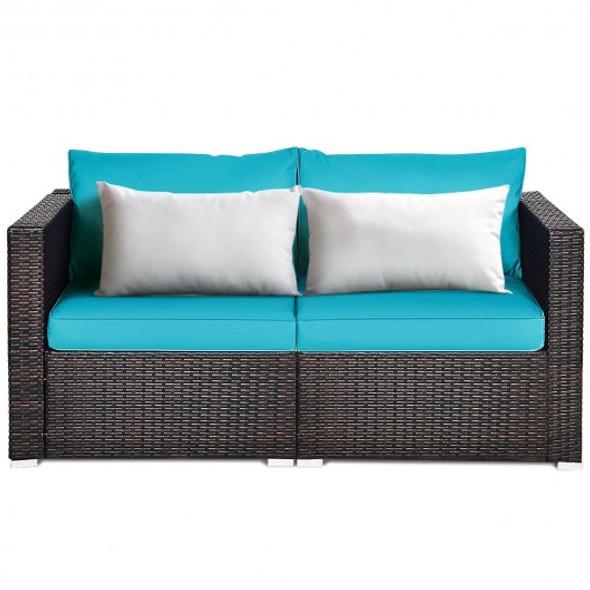2PCS Patio Rattan Sectional Conversation Sofa Set-Blue - COHW66869TU