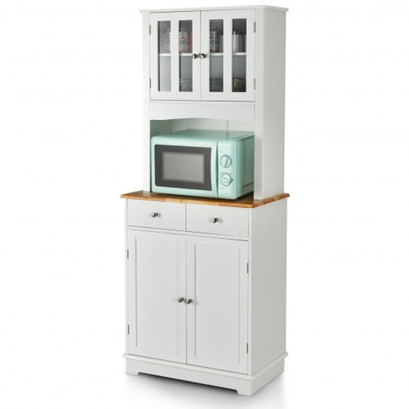 Kitchen Pantry Cabinet with Wood Top and Hutch-White