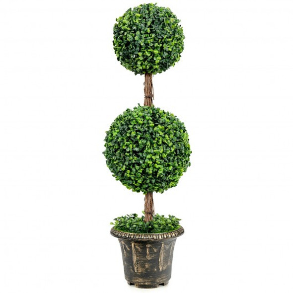 """36"""" Artificial Double Ball Tree Indoor and Outdoor UV Protection"""