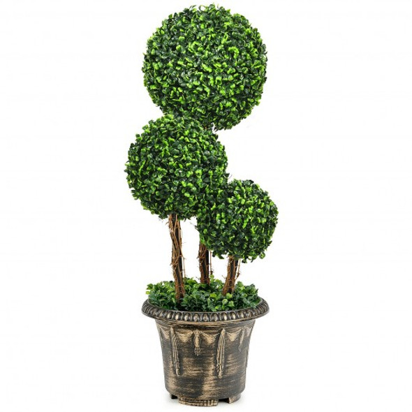 """30"""" Artificial Topiary Triple Ball Tree Indoor and Outdoor UV Protection"""