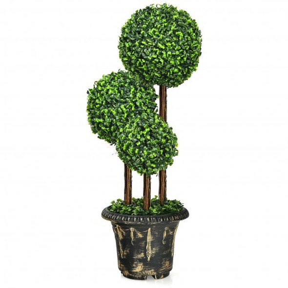 36'' Artificial Topiary Triple Ball Tree for Indoor and Outdoor