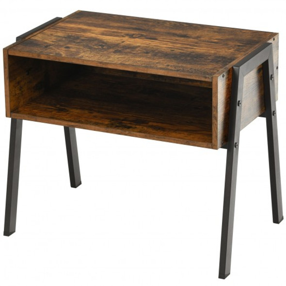 Stackable Night Stand Shelf Accent Table with Metal Frame
