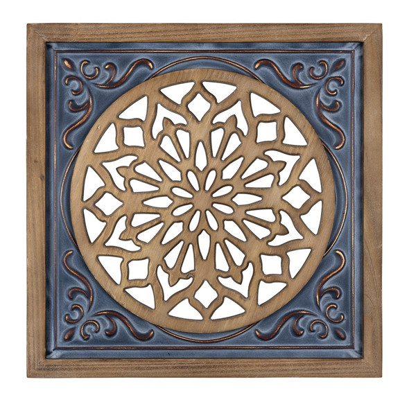 Blue Ethnic Wood and Metal Square Wall Plaque