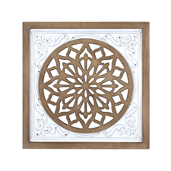 White Ethnic Wood and Metal Square Wall Plaque