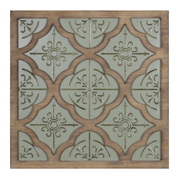 Green Ethnic Pattern Wood and Metal Wall Plaque