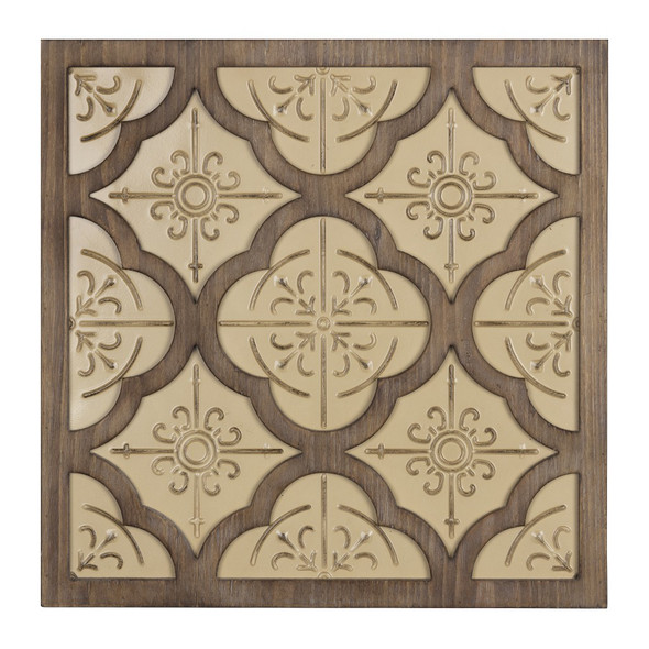Pale Yellow and Natural Quatrefoil Wall Plaque