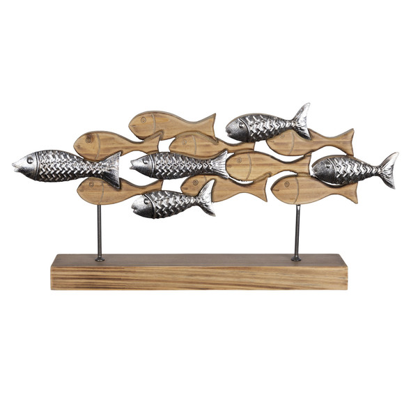 Carved School of Fish Sculpture