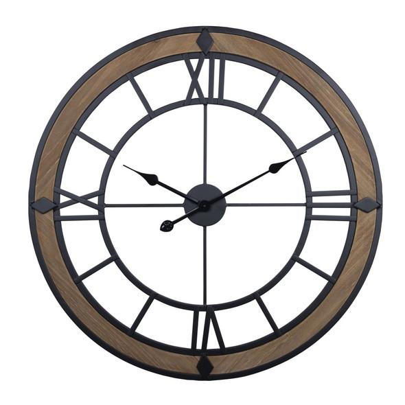 Industrial Wood and Metal Wall Clock
