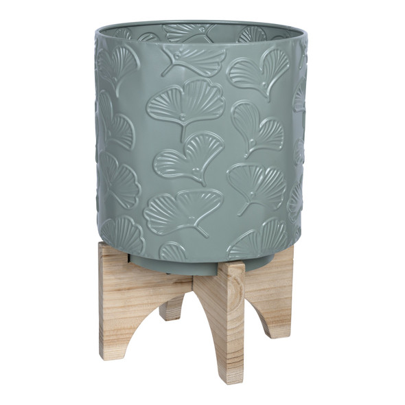 Leaf Pattern Green Planter with Wooden Base