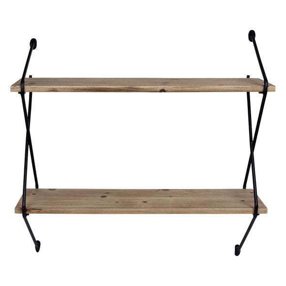 Two Tier Metal and Wood Wall Shelf