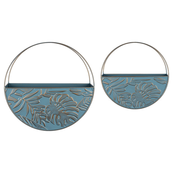 Set of Two Blue and Gold Leaf Pattern Wall Planters