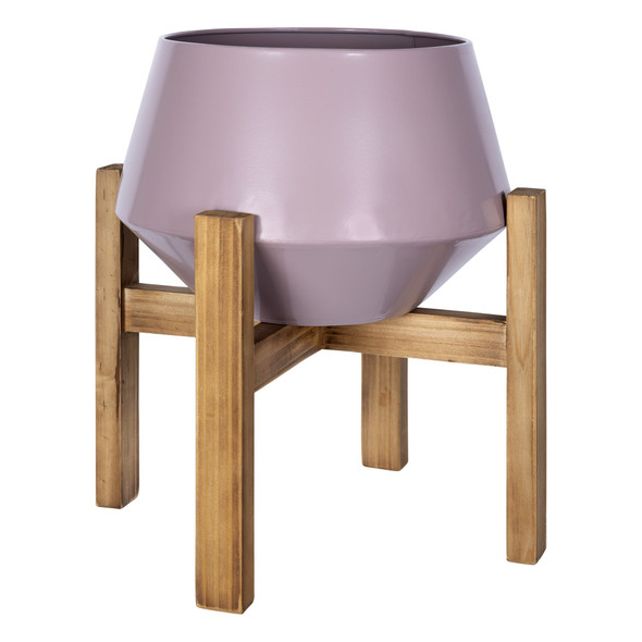 Pink Hexagonal Planter with Wooden Base