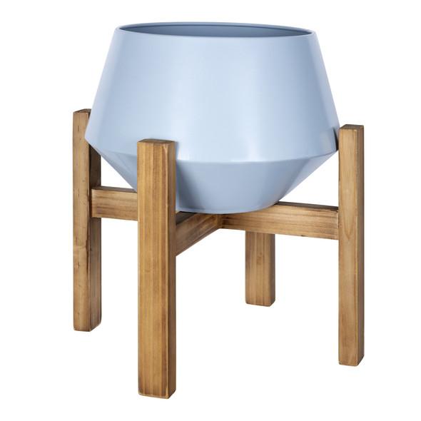 Blue Hexagonal Planter with Wooden Base