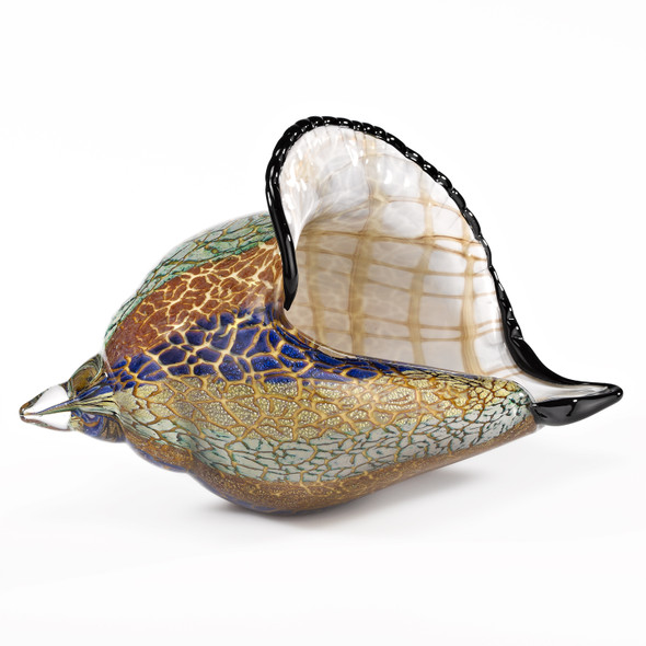 """5"""" Mouth Blown Large Conch Shell Artistic Glass"""