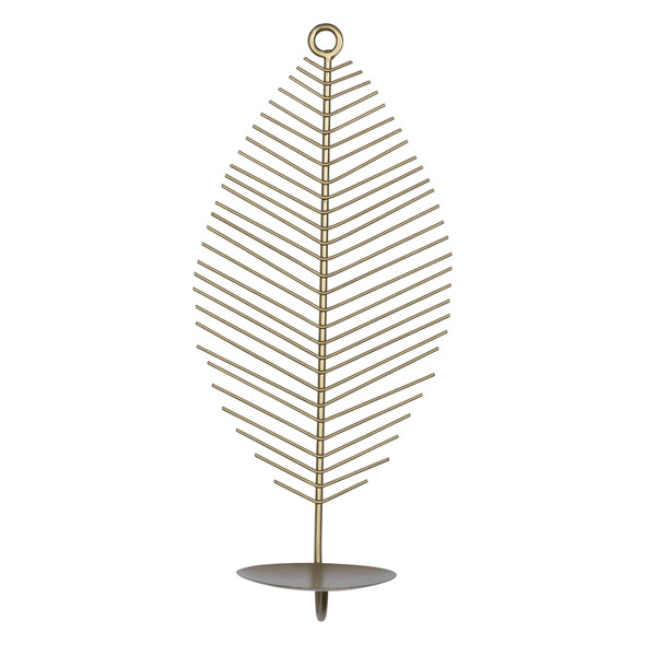 Petite Leaf Shaped Matte Gold Wall Sconce