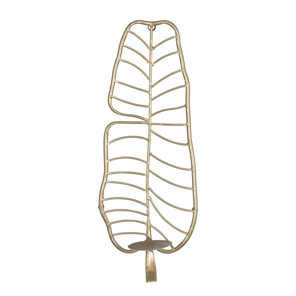 Tropical Gold Metal Leaf Wall Sconce