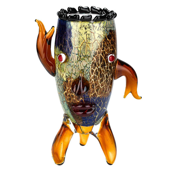 """13"""" MultiColor Art Glass Vase with a Face"""