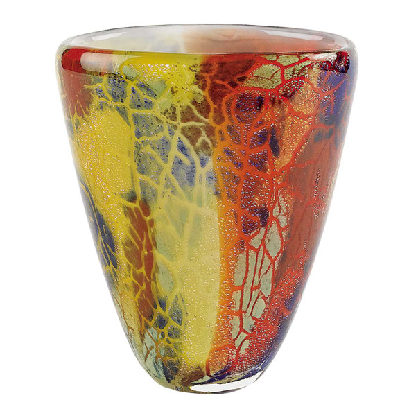 "8"" MultiColor Art Glass Oval Vase"