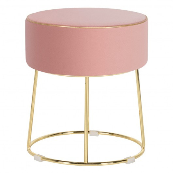 Velvet Round Footrest Ottoman with Metal Base and Non-Slip Foot Pads-Pink