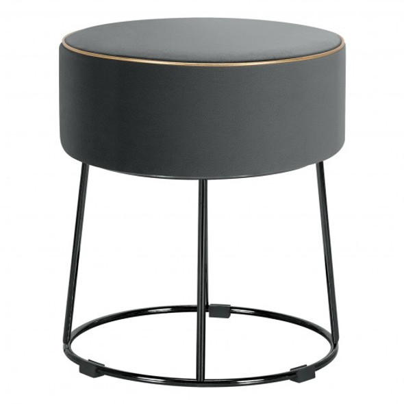 Velvet Round Footrest Ottoman with Metal Base and Non-Slip Foot Pads-Gray