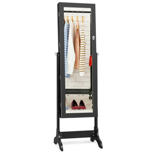 Lockable Mirrored Jewelry Cabinet Armoire Storage Organizer Box-Black - COJV10077BK