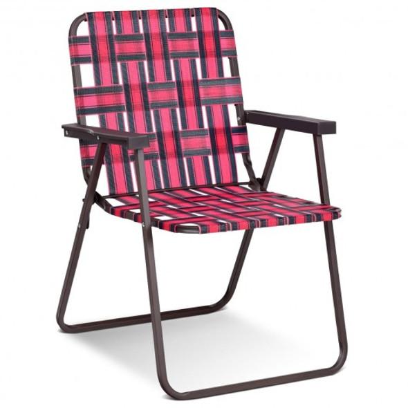6 pcs Folding Beach Chair Camping Lawn Webbing Chair-Red
