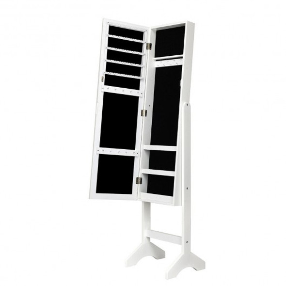 Attractive Rectangle Mirrored Jewelry Cabinet-White - COJV10079WH