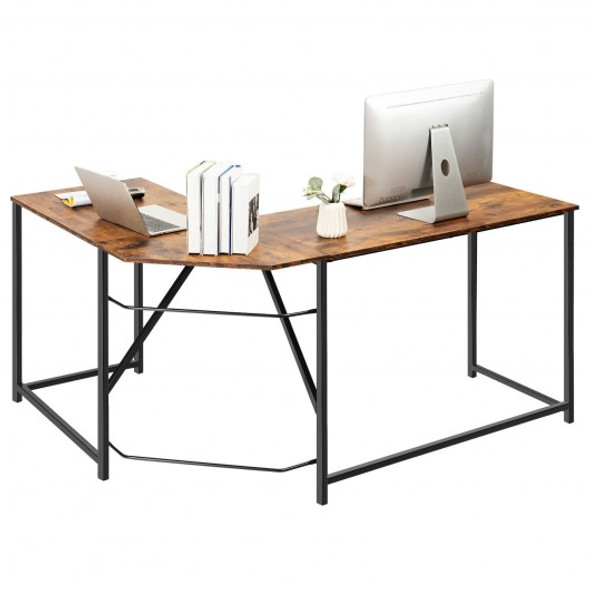 """58"""" x 47"""" L Shaped Corner Home Office Computer Desk Home-Rustic Brown"""