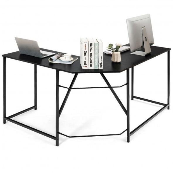 "58"" x 47"" L Shaped Corner Home Office Computer Desk Home-Black"