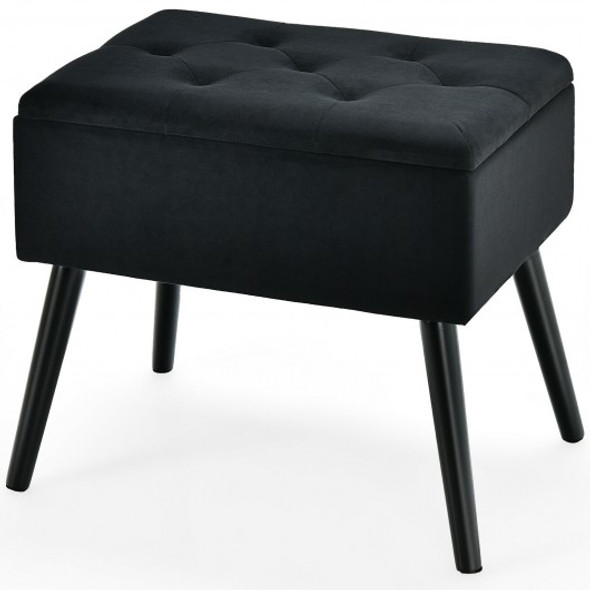 Velvet Storage Ottoman with Solid Wood Legs for Living Room Bedroom