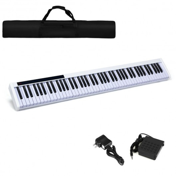 88-Key Portable Electronic Piano with Bluetooth and Voice Function-White - COMU70012WH