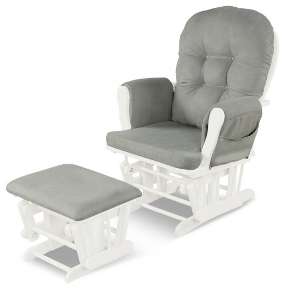 Solid Wood Gliding Chair Set with Pockets and Ottoman for Relaxing-Light Gray