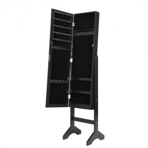 Attractive Rectangle Mirrored Jewelry Cabinet-Black - COJV10079BK