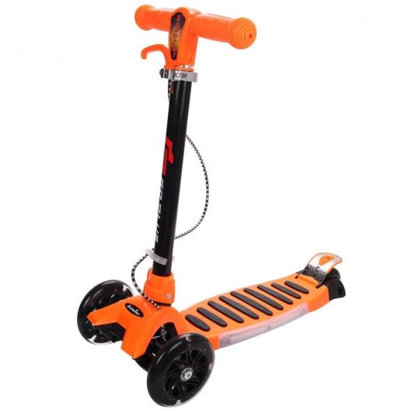 Folding Aluminum 3 LED Light Up Wheels Kids Music Kick Scooter-Orange