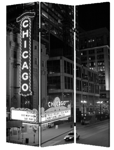 """1"""" x 48"""" x 72"""" Multi Color Wood Canvas Chicago Screen"""